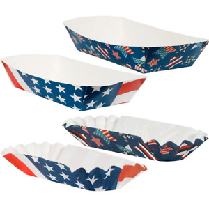 Paper Trays American Flag 44 Pc Patriotic Paper Hot Dog Holders And Food Trays