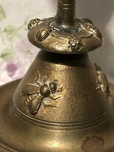 Antique Victorian Gothic Brass Candle Holder Candlestick Beetles