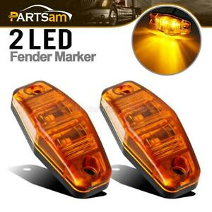 2 Pcs Side Fender Marker Trailer Amber Universal Surface Clearance Led Light