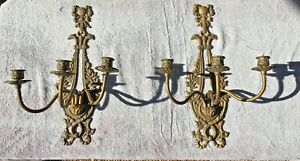 2 Vintage Antique Brass Bow Wall 3 Arm Candle Stick Holders Candelabras Sconces