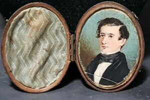 Antique Miniature Hand Painted Portrait In Leather Case 3 8 By 2 3 8