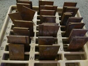 Large Brass Regular Letters Capitals Master Engraving Plates Incomplete