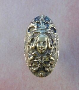 French Picard Antique Figural Oval Door Knob Cast Bronze Brass Ornate Victorian