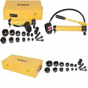 10 Ton Hydraulic Knockout Punch Hole Driver Kit Complete Tool Set W 6 Dies Yello