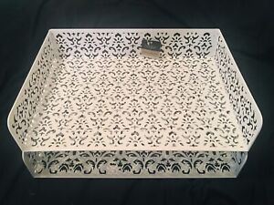 2 Tier Stackable Letter Tray Desk Organizer White Metal Perforated Flower Design