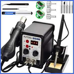 2 In 1 Soldering Station Digital Display Smd Hot Air Rework Iron Solder Wire T