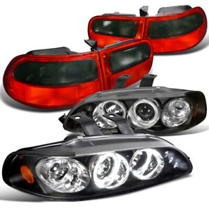 For 1992 1995 Civic 3dr Hb Led Halo Projector Headlight Black tail Lamp Smoke