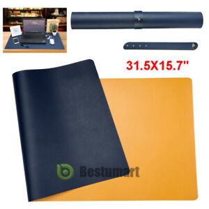 Large Leather Office Desk Pad Mouse Keyboard Laptop Writing Mat 31 5x15 7 Blue