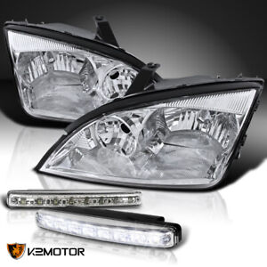 Fit 2005 2007 Ford Focus Zx4 Euro Chrome Crystal Headlights 8 led Fog Lamps