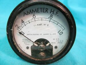 Simpson Model 135t 0 1 0 Ammeter H f Panel Meter Thermo Couple 8477 1941