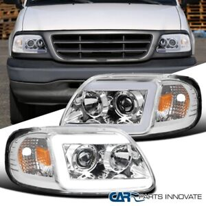 For Ford 97 03 F150 Expedition Clear Led Drl Projector Headlights Head Lamps