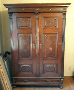 Antique Solid Wood Armoire Wardrobe Cabinet Closet Pre Century Late 1800s
