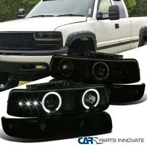 For 99 02 Silverado 00 06 Tahoe Suburban Halo Projector Headlights Bumper Lamps