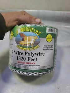 Polywire Electric Fencing 1320 White black 9 Stainless Steel Conductors