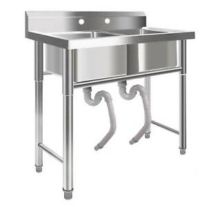 Commercial 39 2 Compartment Sink Wide Stainless Steel Bar Kitchen Silver Us New