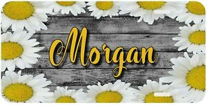 Personalized Monogrammed Custom License Plate Auto Car Tag Daisies Wood Pattern