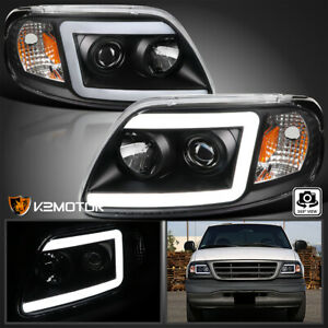Black Fits 1997 2003 Ford F150 Expedition Led Drl Tube Projector Headlights Pair