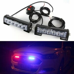 Red Blue Car Truck Dash Strobe Flash Light Emergency Police Warning Lamps