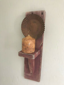 Primitive Country Rustic Candle Shelf Sconce W Rusted Fluted Reflector Pan