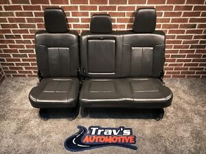 2011 16 Ford F 250 F 350 Superduty Lariat Rear Leather 60 40 Bench Seat Black