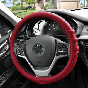 Silicone Steering Wheel Cover Top Quality Grip Marks Design Burgundy For Auto