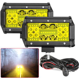 2x 5inch Quad Row Led Work Lights Spot Flood Combo Amber Driving Offroad wiring