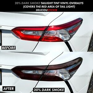 Smoke Rear Tail Light Overlays Precut Vinyl Tint Decal Smoked For 2018 20 Camry