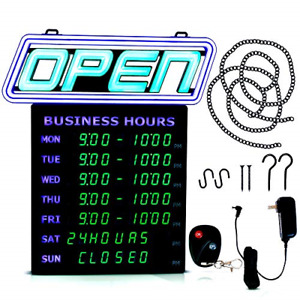 Led Open Sign With Business Hours Stand Out With 1000 s Color Combos Match Brand