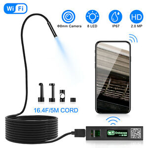 5m 8led Wireless Wifi Endoscope Borescope Inspection Camera For Iphone Android