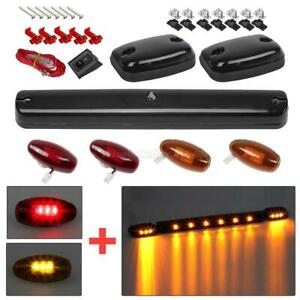 Smoked Cab Roof Top Amber Led Lights W red amber Side Marker For Chevy gmc 07 14