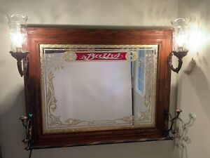 Vintage Framed Etched Lighted Wall Mirror