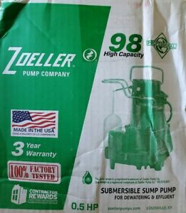 Zoeller N98 1 2 Hp Cast Iron Submersible Sump Pump non automatic