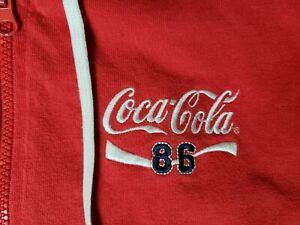 Vintage 86 Coca Cola Hoodie Women's XL Embroidered stripes
