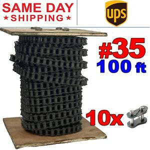 35 Roller Chain X 100 Feet 10 Connecting Links Same Day Expedited Shipping