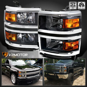For 2014 2015 Chevy Silverado 1500 Pickup Black Headlights Corner Signal Lamps