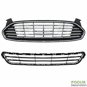 Upper Lower Front Radiator Grille Grill Kit For 13 2016 Ford Fusion Mondeo