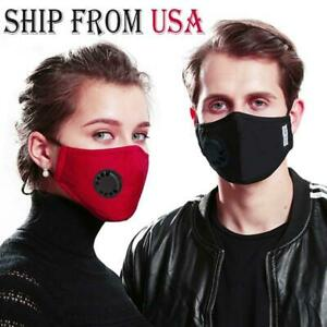 Reusable Washable Face Mask With Air Vent 2 Filters Ships From Usa Same Day