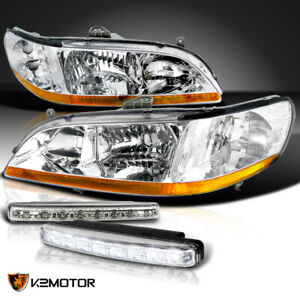 For 98 02 Honda Accord 2 4dr Jdm Chrome Diamond Headlights 8 led Bumper