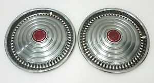 Pontiac Motor Division Vintage Chrome 15 Hubcaps Red Circle Dot Center Lot 2