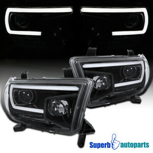 For 2007 2013 Toyota Tundra Sequoia Led Drl Polished Black Projector Headlights