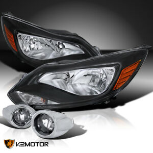 Fit 2012 2014 Ford Focus S Se Black Headlights Clear Driving Fog Lamps Switch
