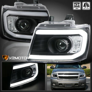 Black For 2007 2013 Avalanche Tahoe Suburban Led Drl Tube Projector Headlights