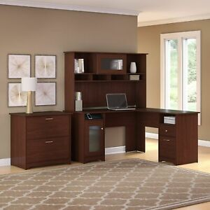 Copper Grove Daintree L shaped Hutch Desk With Lateral File Cherry 59 45 l X 59