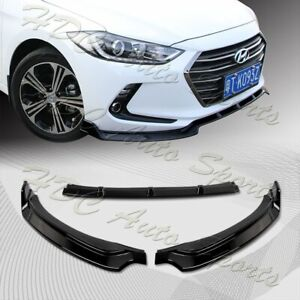 For 2017 2018 Hyundai Elantra Painted Black Front Bumper Body Spoiler Lip 3pcs