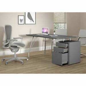 Modern Office Desk With Cabinet Graphite Grey Contemporary
