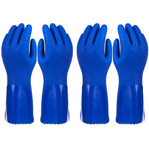2 Pairs Household Gloves Cotton Lined Dishwashing Rubber Kitchen Blue L