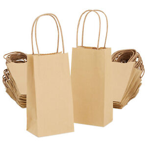 50 pack Bulk Small Kraft Paper Gift Bags With Handles 6 X 3 5 X 2 5 Inches
