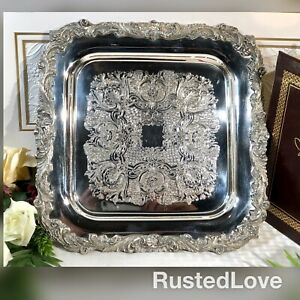 Sheffield Square Silver Plated Serving Tray English Baroque Etched 12 Inch