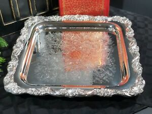 Sheffield Square Silver Plated Serving Tray Shells Floral Footed Etched 13 Inch