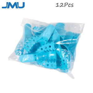 12pcs Dental Impression Tray Plastic Autoclavable Perforated All Sizes